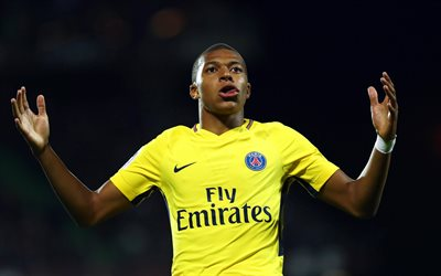 Kylian Mbappe, footballers, PSG, soccer, Ligue 1, Paris Saint-Germain, Mbappe, football stars