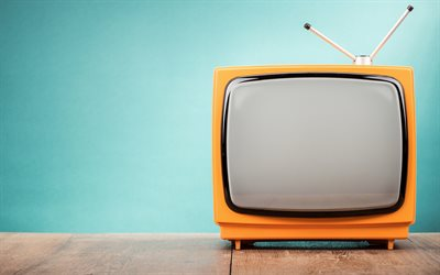 old orange TV, retro objects, TV, table, TV concepts