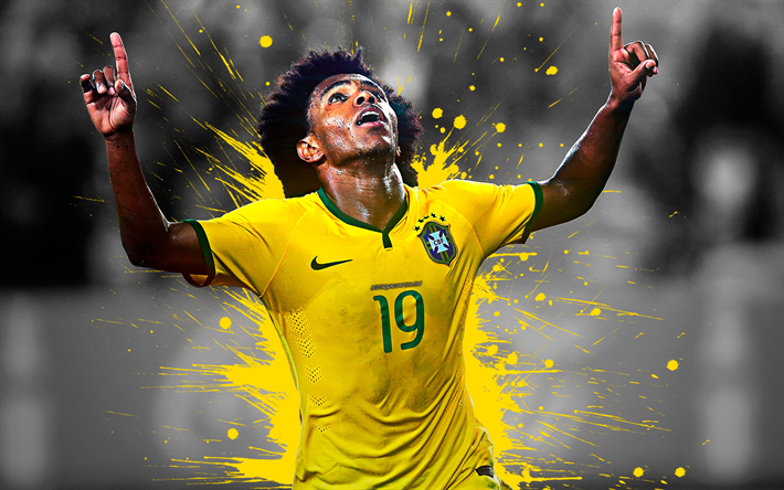 Download Wallpapers Willian, 4k, Brazil National Football