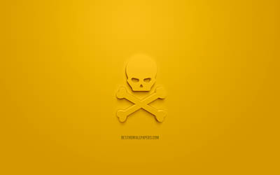 Poison 3d icon, yellow background, 3d symbols, The skull and crossbones, creative 3d art, 3d icons, Caution sign, Caution 3d icons, skull and crossbones icon