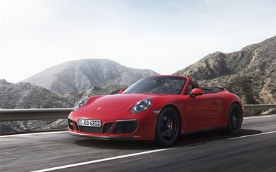 Porsche 911 GTS, 2018 cars, mountain road, supercars, cabriolets, red Porsche
