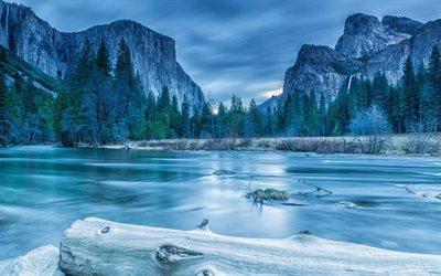 Yosemite National Park, America, winter, river, mountains, Sierra Nevada, USA