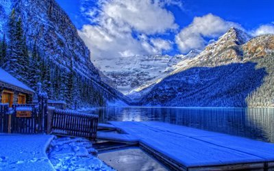 Banff national park, HDR, pier, mountains, lake, Alberta, Canada