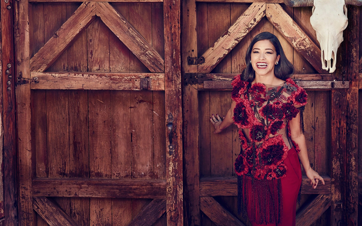 Gina Rodriguez, American actress, beautiful red dress, photoshoot, smile, beautiful woman