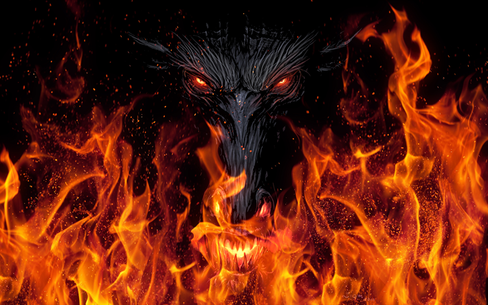 4k, monster, fire, demon, flames, devil, art