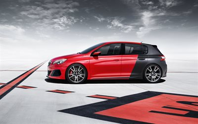 Peugeot 308R, 2017, tuning, red black hatchback, new cars, Peugeot