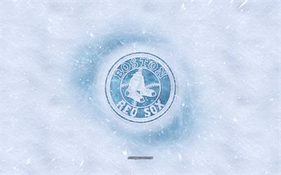 Los Boston Red Sox logo, American club de béisbol de invierno conceptos, MLB, los medias Rojas de Boston logotipo de hielo, nieve textura, Boston, Massachusetts, estados UNIDOS, la nieve de fondo, de los Boston Red Sox de béisbol