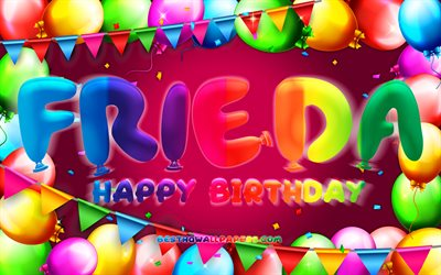 Happy Birthday Frieda, 4k, colorful balloon frame, Frieda name, purple background, Frieda Happy Birthday, Frieda Birthday, popular german female names, Birthday concept, Frieda