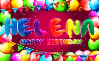 Happy Birthday Helena, 4k, colorful balloon frame, Helena name, purple background, Frieda Happy Birthday, Frieda Birthday, popular german female names, Birthday concept, Helena