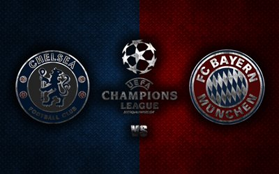 download wallpapers chelsea fc vs bayern munich uefa champions league 2020 metal logos promotional materials red blue metal background champions league football match chelsea fc fc bayern munich for desktop free pictures download wallpapers chelsea fc vs