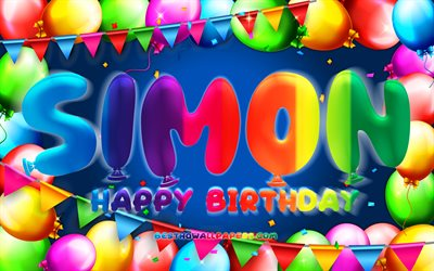Happy Birthday Simon, 4k, colorful balloon frame, Simon name, blue background, Simon Happy Birthday, Simon Birthday, popular german male names, Birthday concept, Simon