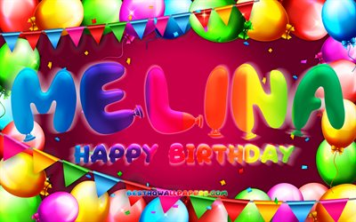 Happy Birthday Melina, 4k, colorful balloon frame, Melina name, purple background, Melina Happy Birthday, Melina Birthday, popular german female names, Birthday concept, Melina