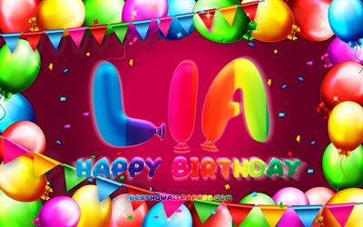 Happy Birthday Lia, 4k, colorful balloon frame, Lia name, purple background, Lia Happy Birthday, Lia Birthday, popular german female names, Birthday concept, Lia