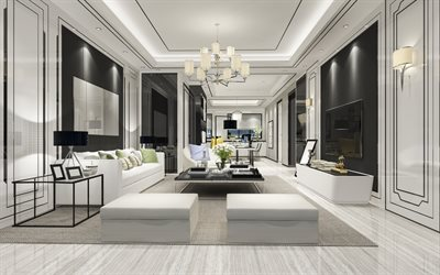 stylish modern interior design, living room, modern classic style, white wooden floor, living room project, white living room