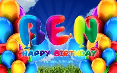 Ben Happy Birthday, 4k, cloudy sky background, popular german male names, Birthday Party, colorful ballons, Ben name, Happy Birthday Ben, Birthday concept, Ben Birthday, Ben
