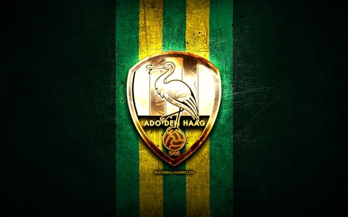 Download Wallpapers Den Haag Fc Golden Logo Eredivisie Green Metal Background Football Ado Den Haag Dutch Football Club Ado Den Haag Logo Soccer Netherlands For Desktop Free Pictures For Desktop Free