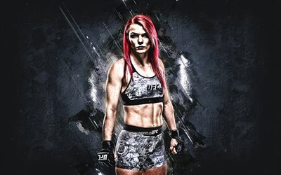 Gillian Robertson, UFC, canadian fighter, portrait, gray background, MMA, Ultimate Fighting Championship