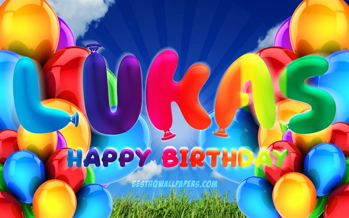 Lukas Happy Birthday, 4k, cloudy sky background, popular german male names, Birthday Party, colorful ballons, Lukas name, Happy Birthday Lukas, Birthday concept, Lukas Birthday, Lukas
