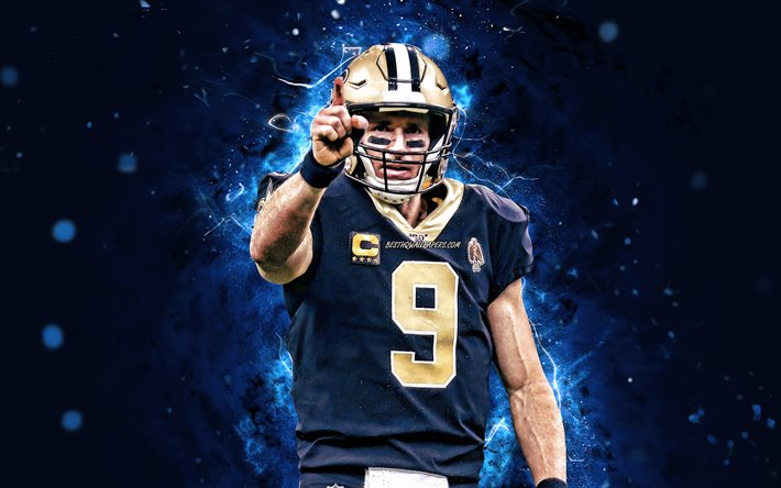 Download Wallpapers Drew Brees Quarterback New Orleans Saints American Football Nfl Drew Christopher Brees National Football League Neon Lights Drew Brees New Orleans Saints For Desktop Free Pictures For Desktop Free