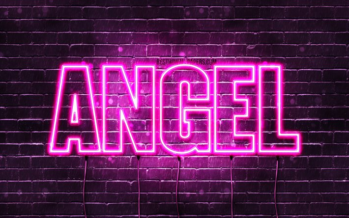Angel, 4k, wallpapers with names, female names, Angel name, purple neon lights, horizontal text, picture with Angel name