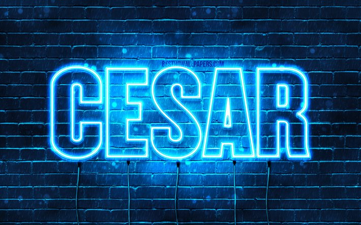 Cesar, 4k, wallpapers with names, horizontal text, Cesar name, blue neon lights, picture with Cesar name