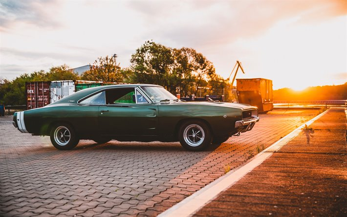 Dodge Charger RT 375 PS, 4k, retro cars, 1968 cars, muscle cars, 1968 Dodge Charger, american cars, Dodge