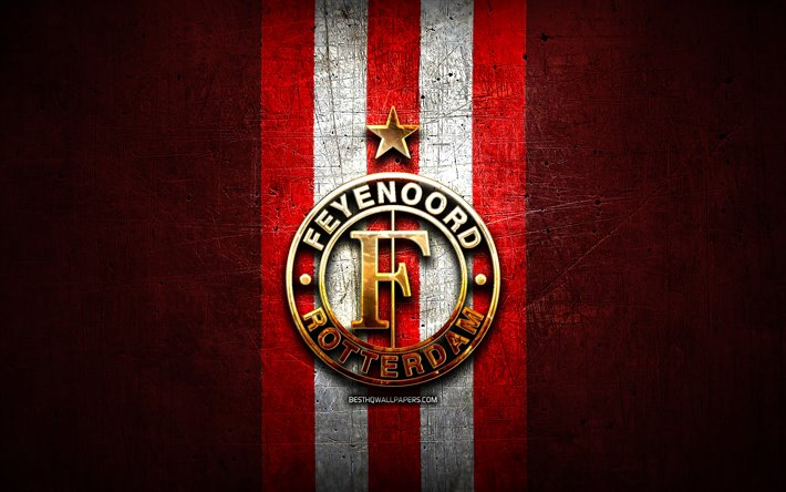 Feyenoord FC, golden logo, Eredivisie, red metal background, football, Feyenoord Rotterdam, Dutch football club, Feyenoord logo, soccer, Netherlands