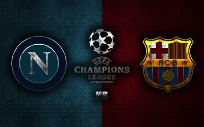 Napoli vs FC Barcelona, UEFA Champions League, 2020, metal logos, promotional materials, blue burgundy metal background, Champions League, football match, SCC Napoli, FC Barcelona
