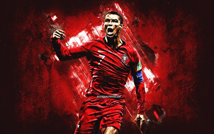 Cristiano Ronaldo, CR7, Portugal national football team, portrait, world football star, goal, red stone background, Portugal, football