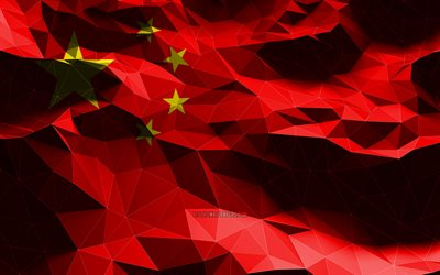 4k, Chinese flag, low poly art, Asian countries, national symbols, Flag of China, 3D flags, China flag, China, Asia, China 3D flag