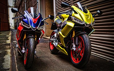 4k, Aprilia RS 660, two motorcycles, 2020 bikes, superbikes, 2020 Aprilia RS 660, HDR, Aprilia