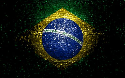 Brazil flag, mosaic art, South American countries, Flag of Brazil, national symbols, Brazilian flag, artwork, South America, Brazil