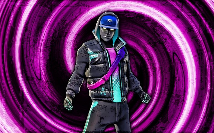 4k, Cryptic, violet grunge background, Fortnite, vortex, Fortnite characters, Cryptic Skin, Fortnite Battle Royale, Cryptic Fortnite