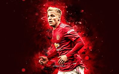 Donny van de Beek, 2021, 4k, Manchester United FC, dutch footballers, red neon lights, Premier League, soccer, Donny van de Beek 4K, football, Man United, Donny van de Beek Manchester United