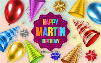 Happy Birthday Martin, 4k, Birthday Balloon Background, Martin, creative art, Happy Martin birthday, silk bows, Martin Birthday, Birthday Party Background