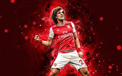 David Luiz, 4k, 2020, footballeurs brésiliens, Arsenal FC, David Luiz Moreira Marinho, néons rouges, football, Premier League, David Luiz 4K, The Gunners, David Luiz Arsenal