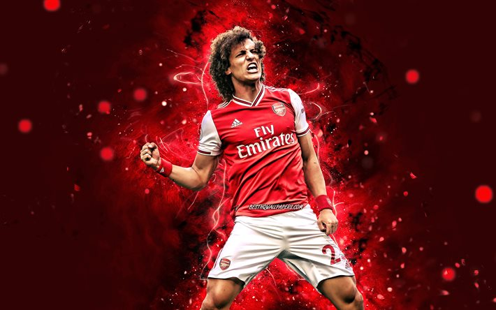 David Luiz, 4k, 2020, brazilian footballers, Arsenal FC, David Luiz Moreira Marinho, red neon lights, soccer, Premier League, football, David Luiz 4K, The Gunners, David Luiz Arsenal