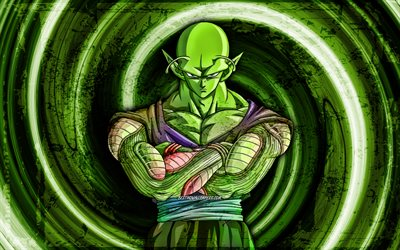 4k, Piccolo, green grunge background, Dragon Ball Super, vortex, Dragon Ball, DBS, Piccolo DBS, DBS characters, Piccolo 4K