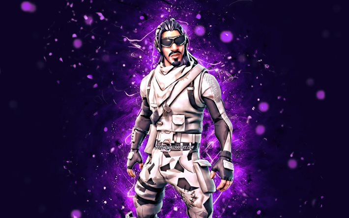 Absolute Zero, 4k, violet neon lights, Fortnite Battle Royale, Fortnite characters, Absolute Zero Skin, Fortnite, Absolute Zero Fortnite