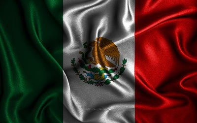 Mexican flag, 4k, silk wavy flags, North American countries, national symbols, Flag of Mexico, fabric flags, Mexico flag, 3D art, Mexico, North America, Mexico 3D flag