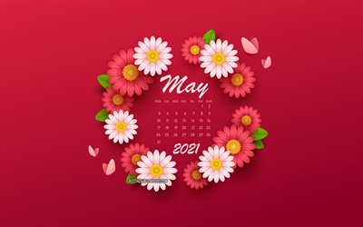 2021 May Calendar, background with flowers, spring flowers, 2021 spring calendars, May, 2021 calendars, May 2021 Calendar