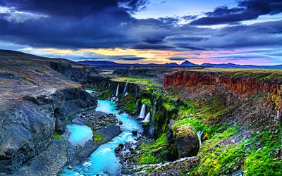 Sigoldugljufur, 4k, blue river, canyon, beautiful nature, HDR, Iceland, Europe