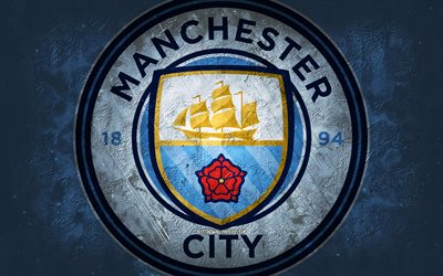 Manchester City FC, English football club, blue stone background, Manchester City FC logo, grunge art, Premier League, football, England, Manchester City FC emblem