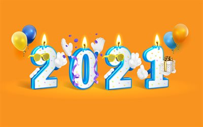 2021 New Year, 4k, 3d holiday letters, Happy New Year 2021, 2021 concepts, 2021 holiday background