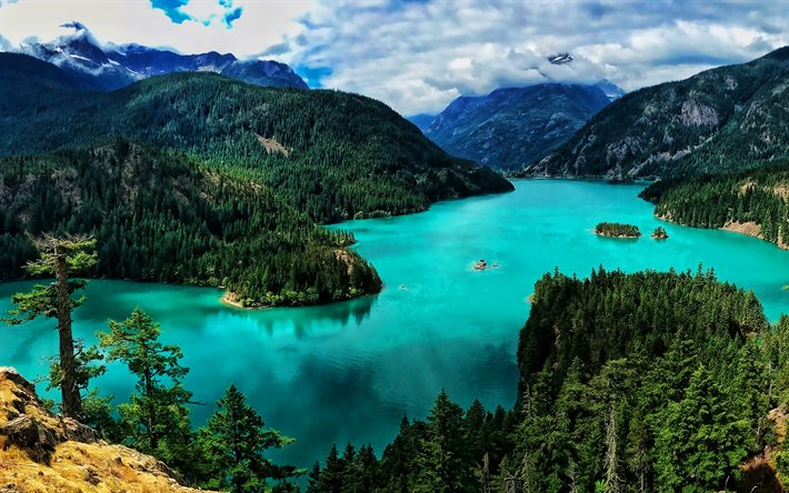 Washington, blue lake, HDR, mountains, forest, USA, beautiful nature, America, summer, american landmarks