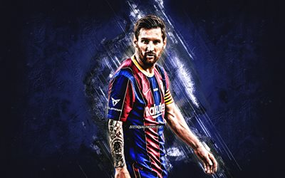 Lionel Messi, FC Barcelona, blue stone background, Leo Messi, La Liga, Spain, football, football stars