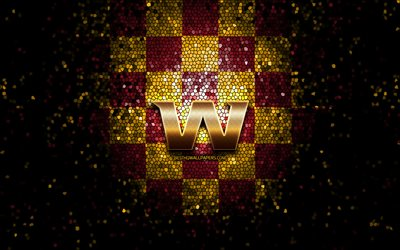 Washington football team, glitter logo, NFL, purple yellow checkered background, USA, american football team, Washington football team logo, mosaic art, american football