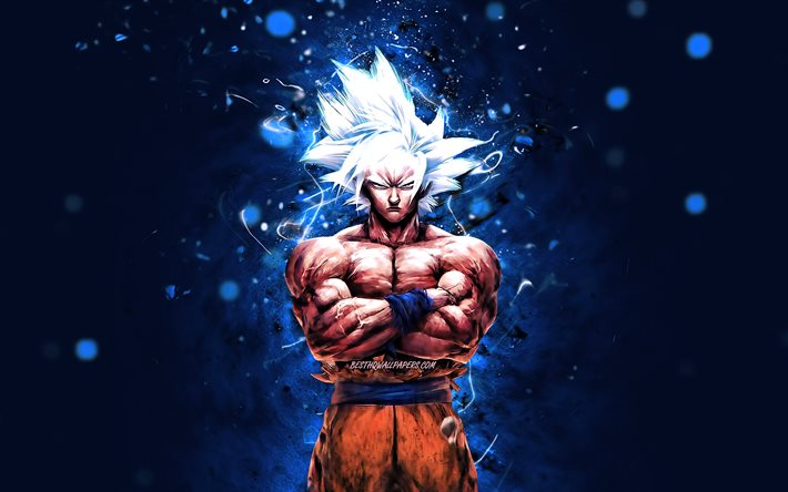 Ultra Instinct, 4k, blue neon lights, Dragon Ball, warrior, Dragon Ball Super, DBS, Goku, Ultra Instinct DBS, Ultra Instinct Goku, DBS characters, Ultra Instinct 4K, Ultra Instinct Dragon Ball