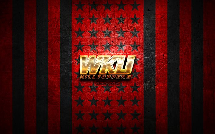 Western Kentucky Hilltoppers flag, NCAA, red black metal background, american football team, Western Kentucky Hilltoppers logo, USA, american football, golden logo, Western Kentucky Hilltoppers