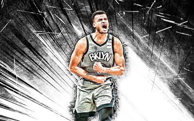 4k, Timothe Luwawu-Cabarrot, grunge art, Brooklyn Nets, NBA, basketball, USA, Timothe Luwawu-Cabarrot Brooklyn Nets, white abstract rays, Timothe Luwawu-Cabarrot 4K